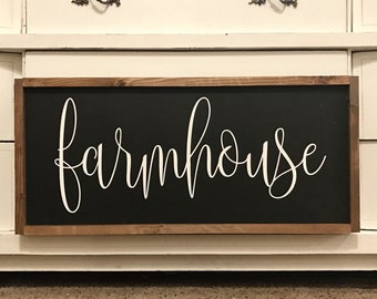"MORE COLORS & SIZES 30x14 ""Farmhouse"" / hand painted / wood sign / farmhouse style / rustic"