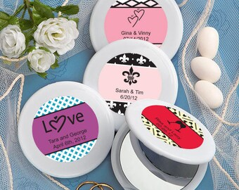 24 Personalized Collection Mirror Compact Favors - Set of 24