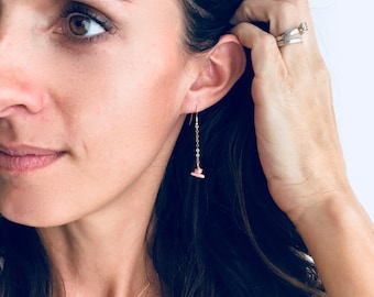 Coral Dangle Drop Earrings