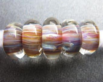 BORO Lampwork Beads Set, Lampwork Set of Five, Set of 5, Green, Yellow, Coral, Blue, Violet, Golden Yellow, Amber, Ruby, Handmade - HGD1412
