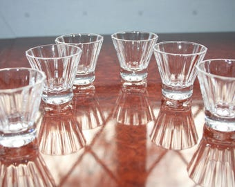 "6 Crystal Shot/Vodka Glasses by Villeroy & Boch ""Paloma"" Design Unused 1.3/4"" Tall"