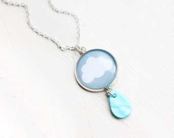 Rain Cloud Necklace - Raindrop Necklace - Rain Pendant - Cloud Necklace - Rainy days - Weather necklace - Storm Necklace