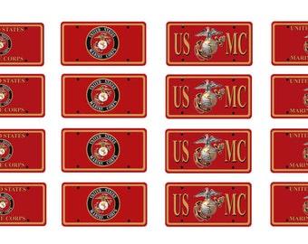 scale model US Marine license tag plates USA United States America