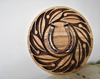 Unique New Year Gift for Loved Ones * Horseshoe Carved Wooden Oak Designed Decoration