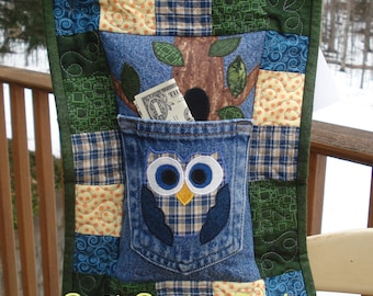 Plaid Owl Recycled Denim Quilted Tooth Fairy Pillow
