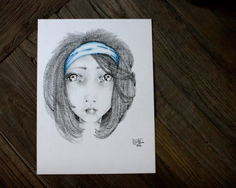 Drawing of a Girl Big Eye Art One of A Kind Wall Art Fantasy Pencil Drawing Evocative Portrait Beautiful Face of a Girl Gift for Her Art