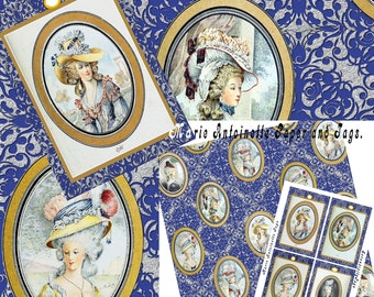 Marie Antoinette Paper and Tags  (DOWNLOAD)