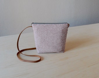 Shoulder Bag in Rust Linen - Cross Body Purse
