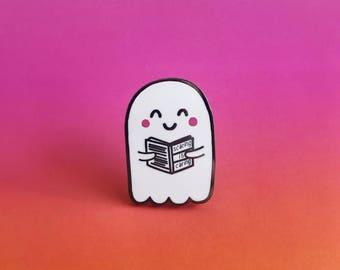 Reading Ghost Enamel Lapel Pin | Cute kawaii pin hat badge