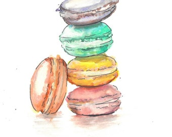 4x6 art print of original illustration - macaroons