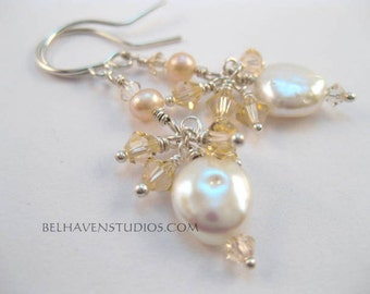 White freshwater coin pearls Swarovski crystal sterling silver earrings|Beaded Crystals coin pearl jewelry|Beach wedding jewelry
