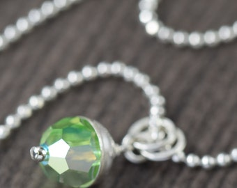 Green Pendant necklace of Swarovski crystal necklace with sterling silver crown green flash necklace gifts for her