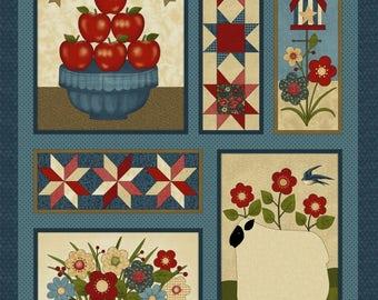 "NEW Liberty Hill Quilt Fabric 100% Cotton Americana Patriotic 24"" X 44"" Fabric Panel Apples"
