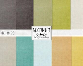 Modern Boy Solid Digital Background Papers, Digital Cardstock, Solid linen Texture, Teal, Orange, Lime Green, Masculine