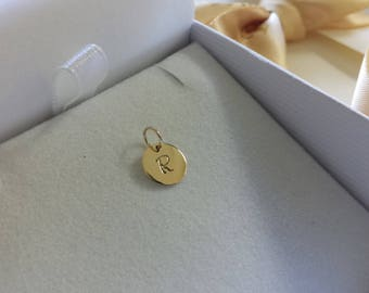 Solid 14kt gold Initial Pendant  or Charm 14kt white gold 14kt rose gold 14kt yellow gold handstamped personalized circle disc birthday gift