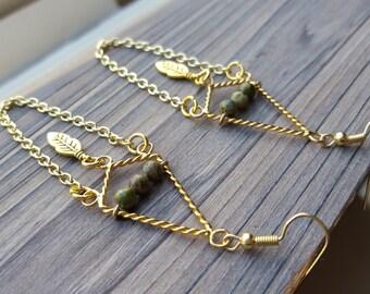 Chandelier Earrings with Green Unakite