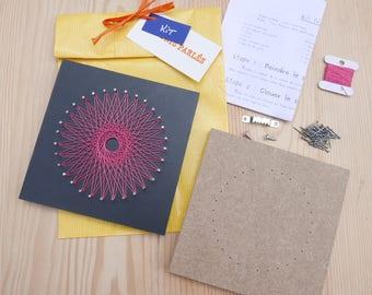 Wire cross KIT string art, string art, pink, mandala, DIY table, child adult beginner teenager, embroidery, weaving, points spoken.