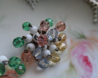 Glass Beaded Earrings, Pastels on White, Made in Western Germany