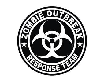 Walking Dead Zombie Outbreak Response Vinyl Decal/Sticker for Car Windows, Laptops, Macbooks, Tablets, iPods, Glassware, Mirrors, iPads,