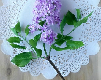 handcrafted lilac branch,polymer clay lilac branch, cold porcelain lilac, handmade lilac, purple lilac, clay flowers, handmade flower