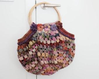 Crochet Boho Bag, Bamboo Handles