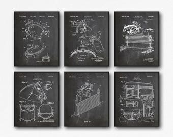 Horse Poster Set of 6 Horse Patent Prints Horse Art Horse decor Horse Wall Art Horse Print Horse Gift Equine Poster Horse Riding Gift WB191