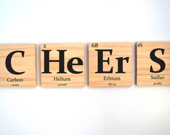 FIVE wooden element tiles pick any 5 elements- Periodic table of elements