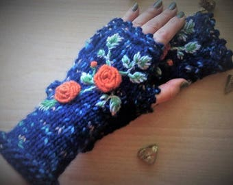 KNITD & crocheted fingerless gloves embroidered/crochet sleeves and long stitched knit/fingerless gloves with flowers/long sleeves