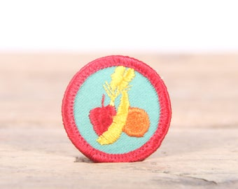 "Vintage Girl Scout Patch / 1970's-80's Scout Patch / Red and Green Fruit Old Stock Scout Patch / 1.5"" Girl Scouts Patch / Scout Badge"