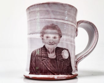 Wheel thrown mug with image of Madeleine Albright