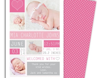 Photo Birth AnnouncementGirl Baby AnnouncementPersonalized - Card template free: birth announcement thank you cards