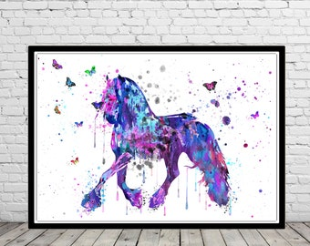 Horse, andalusian horse, watercolor print, watercolor horse, animal print, horse and butterfly, horse art, horse, animal (3050b)