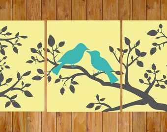 Love Birds On a Branch Butter Yellow Teal Gray Wall Art Home Decor Bedroom Bathroom Printable 8x10 Digital JPG Files Instant Download (204)