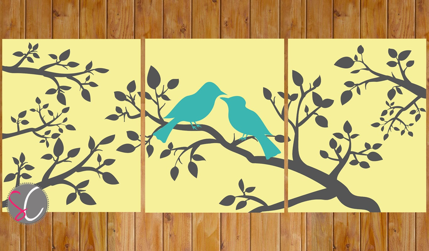 Love Birds On a Branch Butter Yellow Teal Gray Wall Art Home