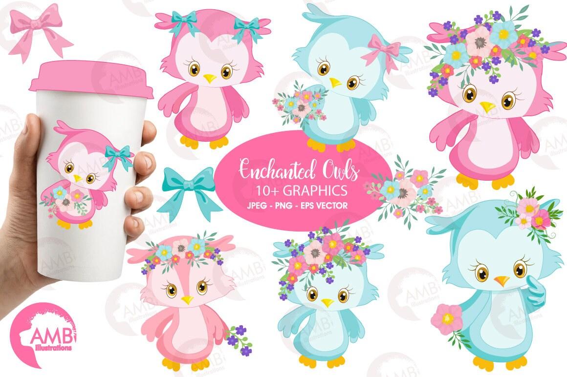 Owl clipart Cute owl Girl owl clipart Owl clip art Pink