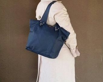 Blue Leather Purse - Women's Bag - Casual Shoulder Handbag - Gift for Her - Ana