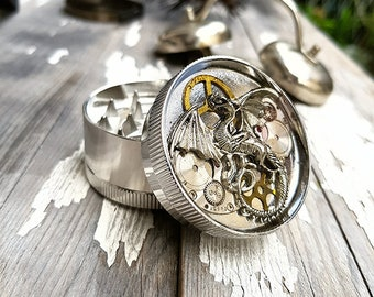 Steampunk Silver Dragon Metal Herb Grinder -Dragoona Spice Crusher  - Metal herbs and weed grinders - Amazing gift for 4:20 girls and boys