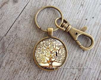 The tree of life Keychain, Gustav Klimt Keychain, Tree of life keyring, Gustav Klimt Jewelry, Tree of life painting keychain, KCB05