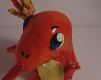 Handmade Charmander Sculpture, Pokemon, Handmade, Polymer Clay, Fire, Fire-Type, Lizard, Dragon, Red, Yellow, Orange