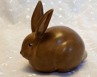 Vintage Edgerton Pottery Brown Porcelain Chubby Bunny Rabbit