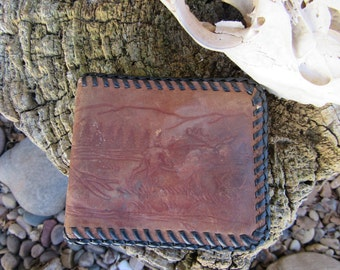 60s Hand Tooled Hunting Scene Leather Billfold // Vintage Midwest Western Wallet