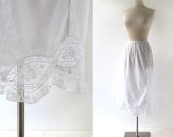 Vintage Edwardian Petticoat   White Lace Slip   Edwardian Slip   27W Small