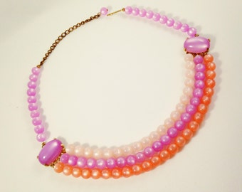 Pink Lucite Necklace, Vintage Jewelry, Vintage Necklace, Vintage Choker, Pink Multi Strand Necklace, Mid Century Jewelry, Pink Purple Choker