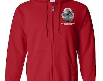 US Army SCUBA Embroidered Hooded Sweatshirt w/ Zipper-7788