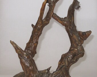 Vintage 1980s OOAK Shellacked Driftwood Natural Finished Wood Art Waiting for Your Decorating or Artistic Use Gnarly Wood Art
