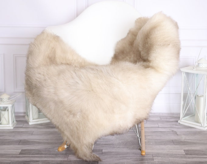 Sheepskin Rug   Real Sheepskin Rug   Shaggy Rug   Scandinavian Rug     SCANDINAVIAN DECOR   Beige Brown Sheepskin #OLHER8