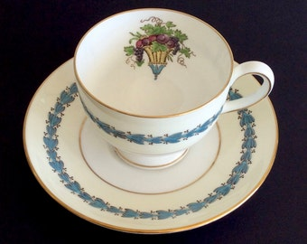 """Wedgewood Tea Cup and Saucer in """"Appledore"""" pattern #W3257, made in England ~ Gift for Mom / Mother's Day Gift /  Wedgewood Collectible"""