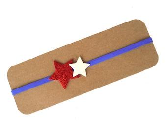 Patriotic Glitter Star Headband | Red, White and Blue Star Headband | Glitter Star Headband | 4th of July Headband | Glitter Stars |