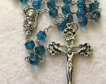 Blue Cathedral Glass Rosary