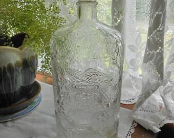 """Embossed GARRETT's WINE Bottle Raised Grapes Vines Leaves American Eagle, Vintage 1940s USA Made, 10"""" Tall 4/5 Quart, Home Bar Guy Man Gift"""